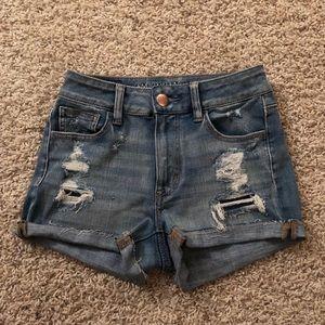 American Eagle High Rise 360 Stretch Jean Shorts 0